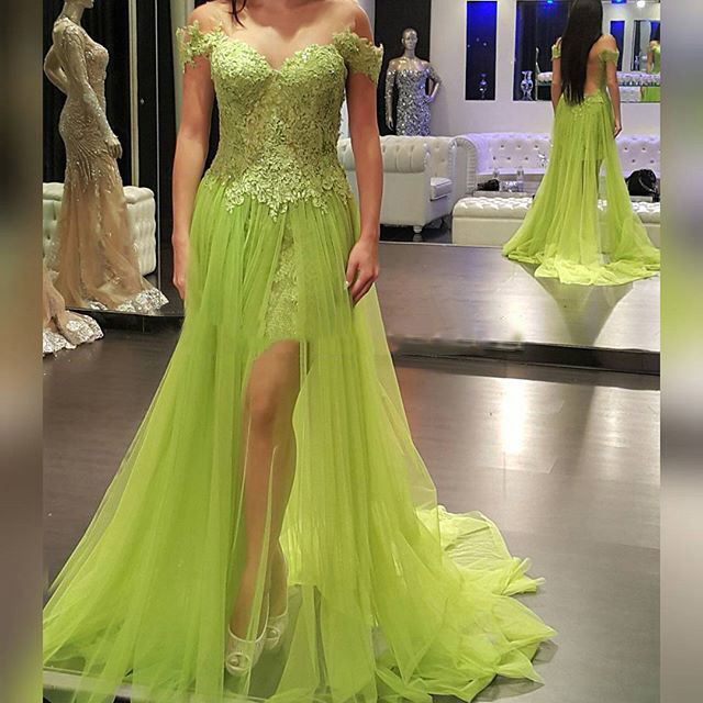 eb977531be1 New Charming Apple Green Tulle Off the Shoulder Lace Applique Floor Length  A Line Formal Evening Dresses Custom Made-in Evening Dresses from Weddings  ...