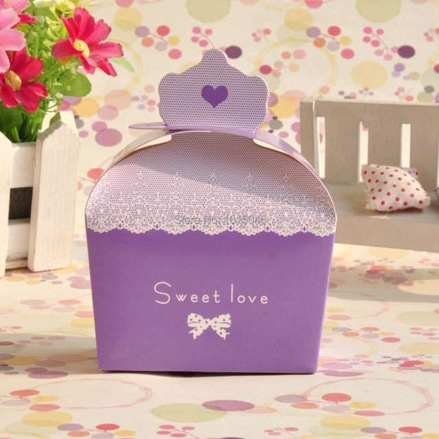 Whole 100 X Purple Pink Red Blue Wedding Candy Box Crown Sweet Love Gift Party Supplies