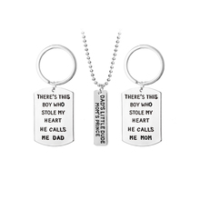 Family Jewelry Keychain Necklace Set Lettered Dad's Little Dude Mom's Prince There Is This Boy Who Stole My Heart Parents Gift