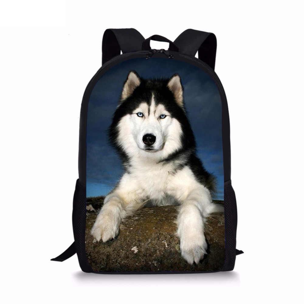 Noisydesigns חמוד 3D בעלי החיים האסקי כלב הדפסת בני בנות Shool שקיות מקרית סטודנטים הברכיים עליונה תרמילי Bookbags ילקוטים