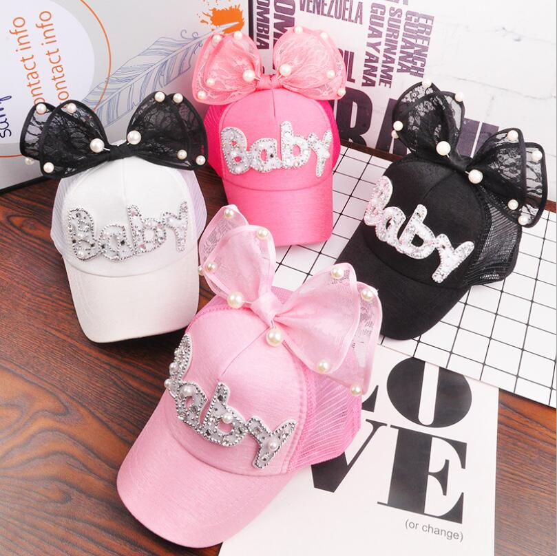 2018 Children Hip Hop Mesh Baseball Cap Summer Baby rabbit ear pearl bow kids Sun Hat Boys Girls snapback Caps for 2-8 years old wholesale spring cotton cap baseball cap snapback hat summer cap hip hop fitted cap hats for men women grinding multicolor