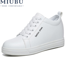 MIUBU 2019 New Spring Wedges  Leather Shoes Woman Casual Breathable Comfortable Women Sneakers Free Shipping