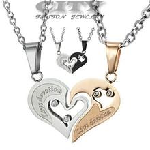 Gros promotions Europe / corée ornements bijoux de mode couple doux coeur de collier pendentif cadeau GX537