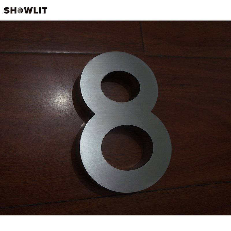 External Modern Brushed Stainless Steel Community House Numbers Cutom Available