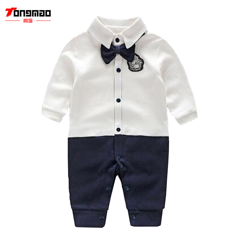 Newborn Baby Boy Rompers Autumn Kids Gentleman Clothes Long Sleeve One Pieces Baby Jumpsuits Bebes Brand Clothing for Baby Boys gentleman baby boy clothes black coat striped rompers clothing set button necktie suit newborn wedding suits cl0008