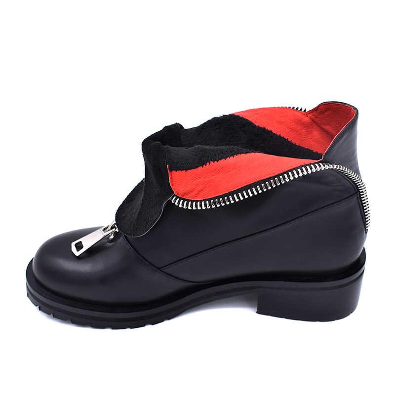 WETKISS Plus Size 34-42 Enkellaars Vrouwen Ronde Neus Zip Pu Schoeisel Platform Vrouwelijke Boot Dikke Med Hakken schoenen Vrouwen 2019 Lente