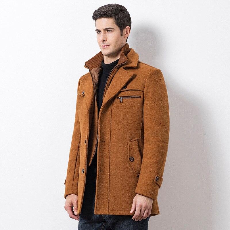 Winter Men's Casual Wool Trench Coat Fashion Business Medium Solid Thicken Slim Windbreaker Overcoat Jacket Male Plus Size 5XL 2