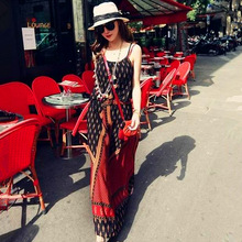 French Paris Red ethnic style Printed Flower Womens Beach dress