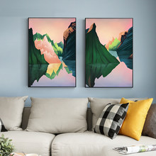 Modern abstract mountain river dusk canvas painting poster print picture home wall art decoration wall stickers can be customize(China)