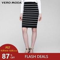 Vero Moda strip warp slim knitted skirt|31641J504