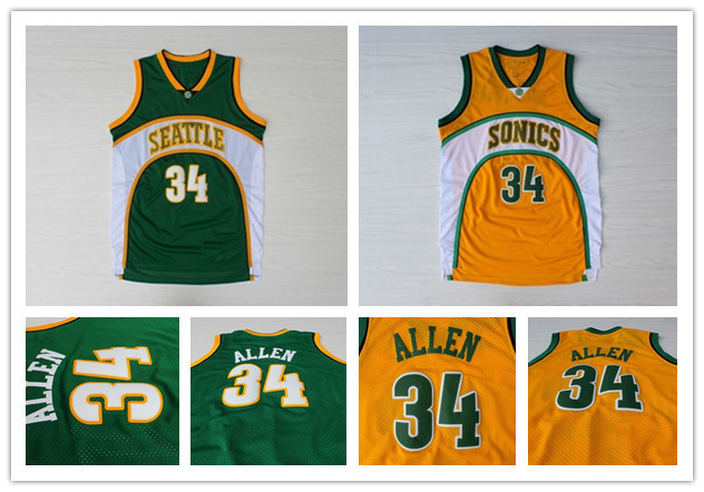 the best attitude f44be a79af Seattle Supersonics #34 Ray Allen White Throwback Retro ...