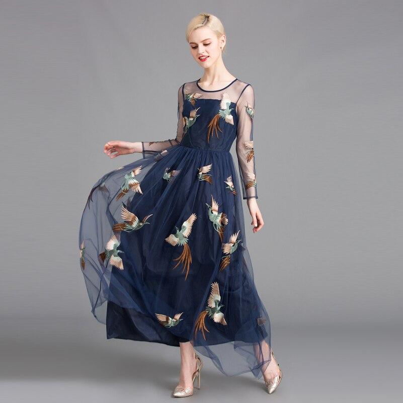 6820db91d5cf2 New 2017 high quality summer maxi dress women track net yarn/phoenix ...