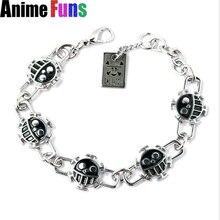 Anime One Piece Bracelet Ace Trafalgar Law Silver Smile Face logo Skull Charm Fashion Jewelry bracelets & bangles for women man
