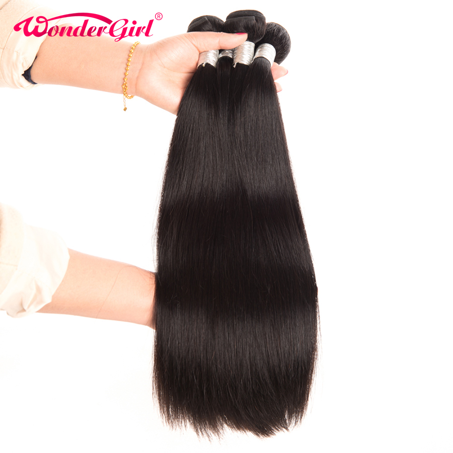 Wonder girl Peruvian Straight Hair 100g Human Hair Bundles Can Be Dyed 1PC Remy Hair Weaving Free Shipping