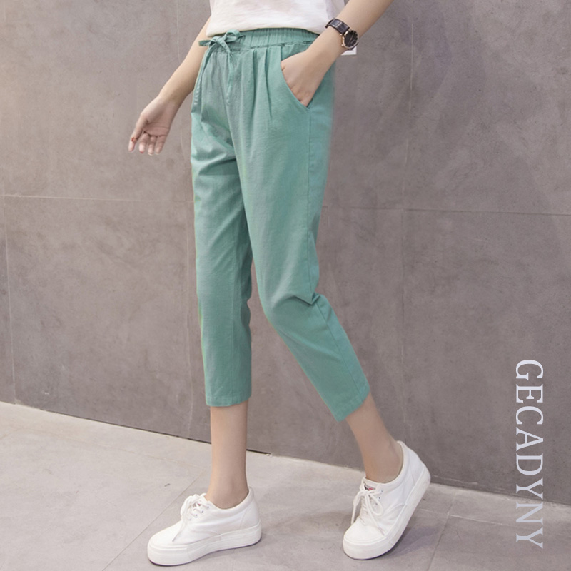 New Fashion 2018 Women's Plus Size 3XL Casual Harem   Pants     Capris   Female Summer Loose Cotton Linen   Pants   Elastic Waist Trousers
