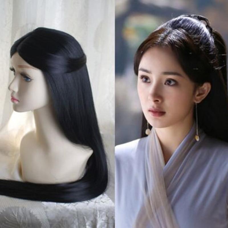 80cm long black chinese ancient hair for princess cosplay hair vintage women hair beautiful princess hair products