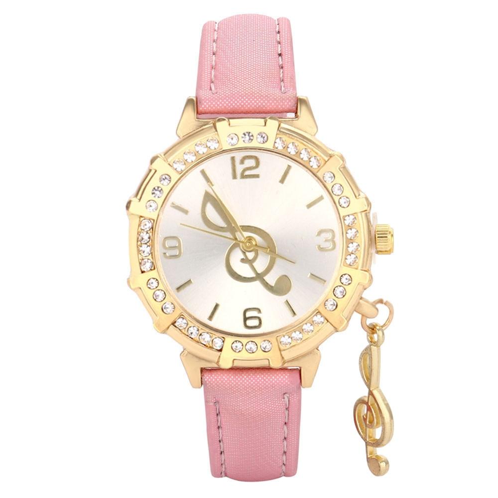 2017 New Women Quartz Wrist Musical Note Tower Rhinestone Pendant Wrist Watch Drop Shipping Y717