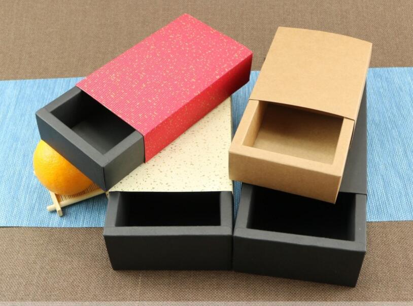 10pieces Kraft Drawer Box Handmade GIFT Sliding box packaging,Craft cardboard Box Jewelry Storage box