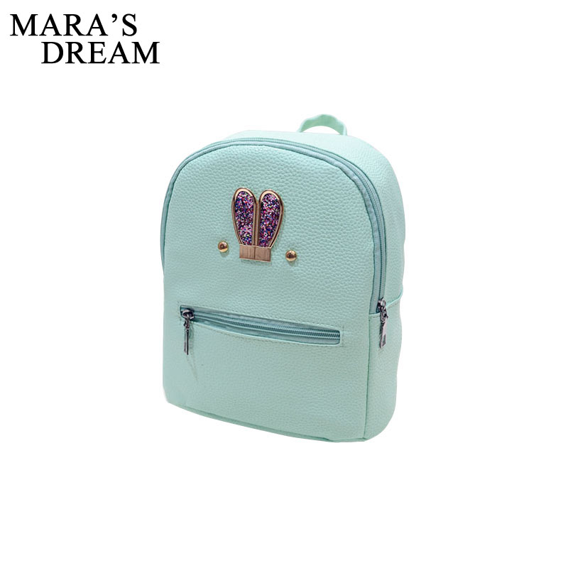 5daaa401d1 Mara s Dream Fashion New Backpack PU Leather Women Bag Sweet Girl Mini  Shoulder Bag Cute Rabbit Ear Sequins Rivet Small Backpack – minahmod