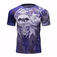 NEW Men Compression Shirts MMA Rashguard Keep Fit Fitness Short Sleeves Base Layer Skin Tight Weight