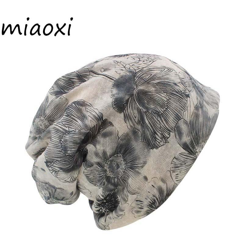 Miaoxi Sale New Fashion Women Knit Warm Hat Scarf Two Used Woman Flora Cap Beanie Skullies For Girl Autumn Caps Bonnet