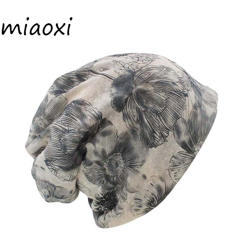 miaoxi Sale New Fashion Women Knit Warm Hat Scarf Two Used Woman Flora Cap   Beanie     Skullies   For Girl Autumn Caps Bonnet