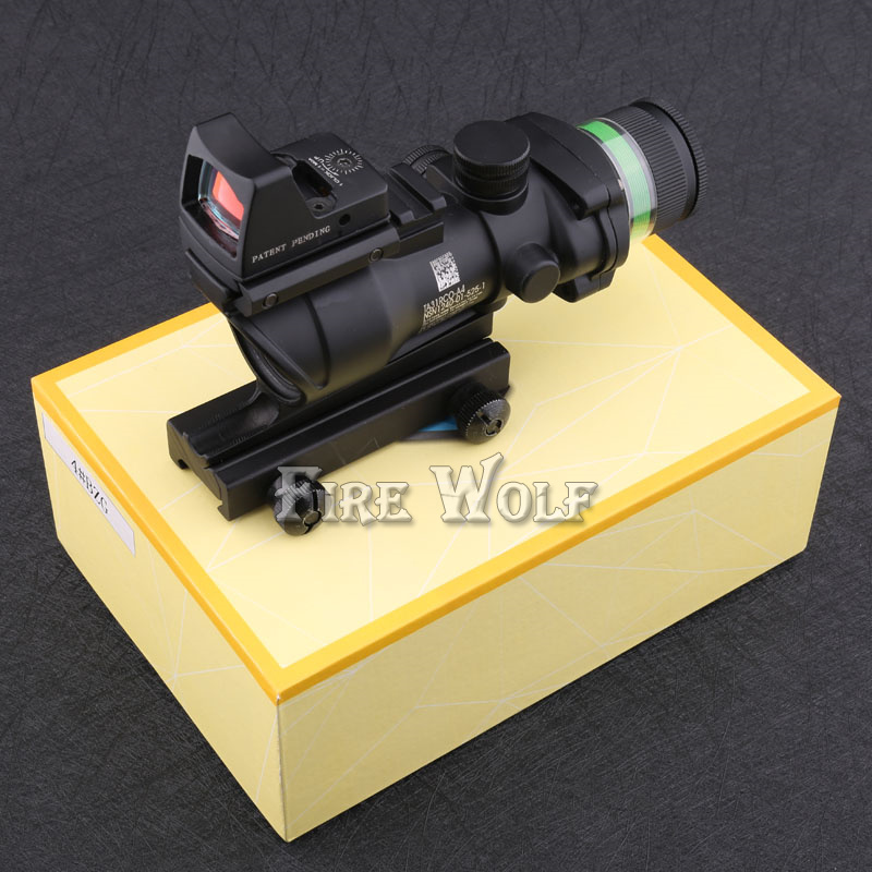 Tactical Good acog style 4x32 rifle scope green Optical fiber and red dot sight scope Hunting Tactical RBO цены онлайн