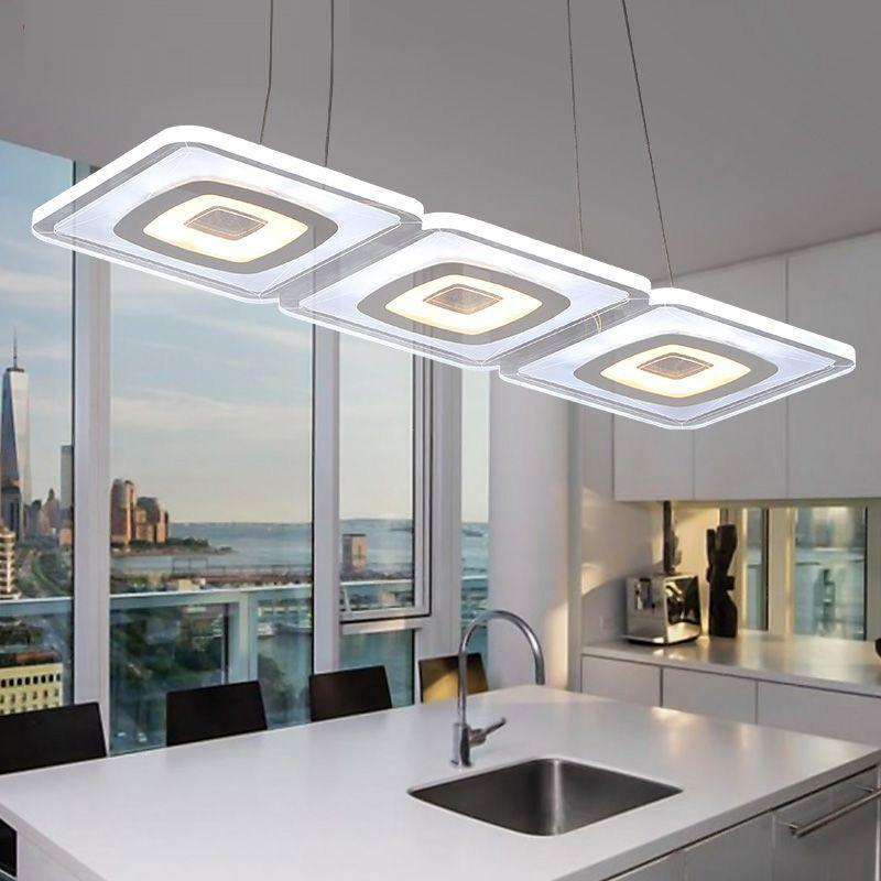 Modern Commercial Lighting Office Led Pendant Lights Glass Room Square Pendant Lamp Kitchen Led Lamparas Colgantes
