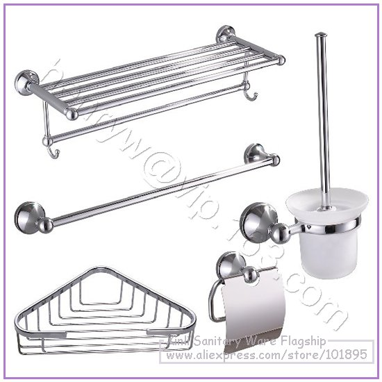 Retail brass bathroom accessories set towel shelf towel for Rack for bathroom accessories