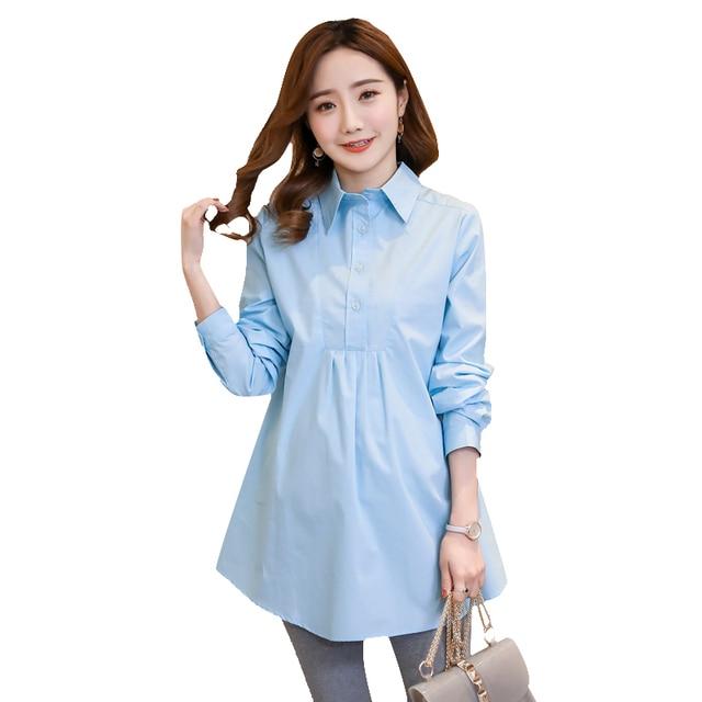 98d13635c5c Autumn Fashion Maternity Shirts Solid Color Pregnant Women Professional  Large Dress