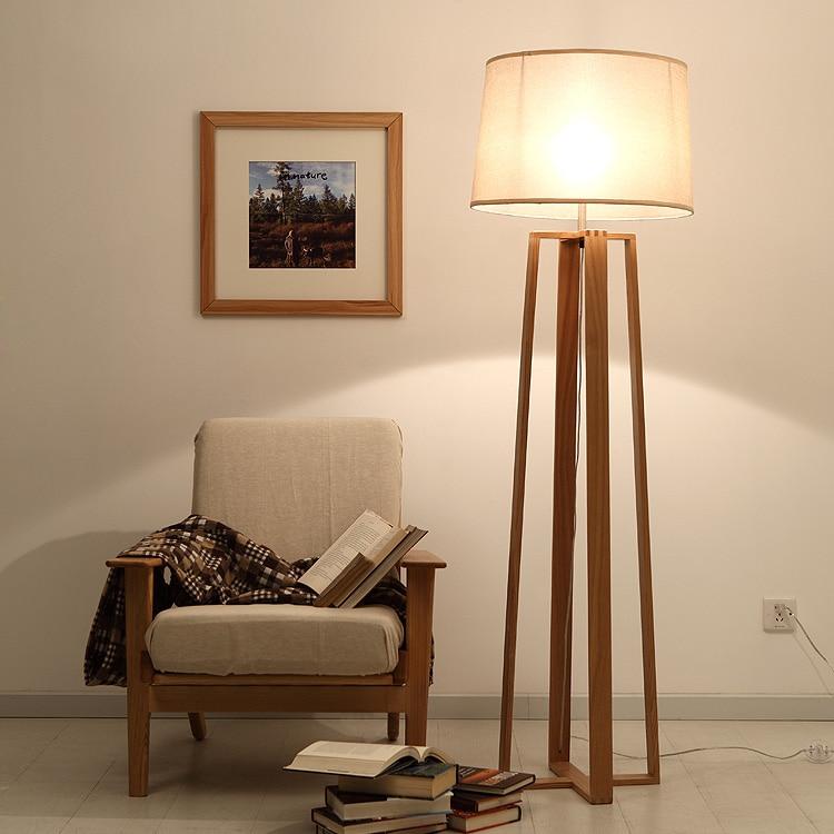 Simple Modern American Creative Wood Floor Lamp Wood Tripod Lamp Wood Lamp Four Fabric Lamp