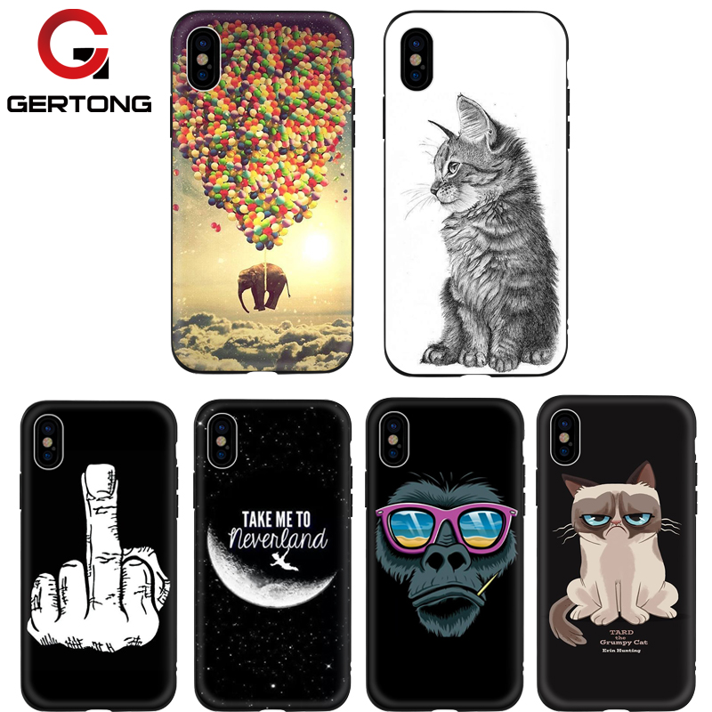 GerTong Funny Animal Dogs Cats Pugs Case For iPhone 7 7 Plus 8 8 Plus 6 6S Plus Case For iPhone X 10 Ten Black Coque Capa Shell