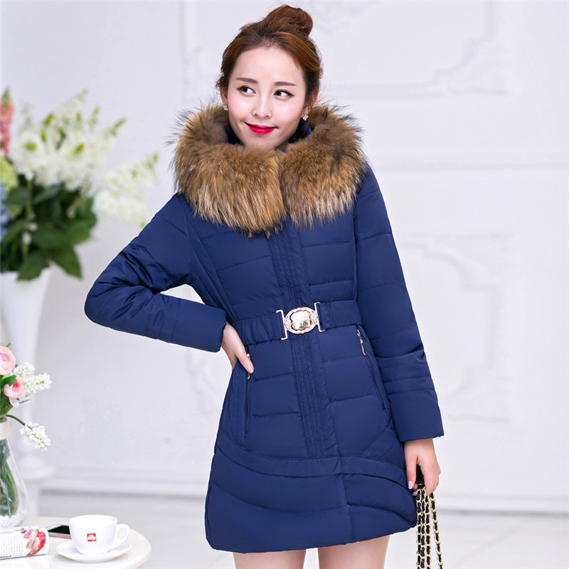 Plus Size Women's Winter Jacket Fashion Thick Long Down Cotton Jackets Female  Large Fur Collar Parka Hooded Casual Coat C1155 2017 women winter coat fur collar hooded long sleeve jackets slim thick winter jacket woman s down cotton parka plus size qh0242