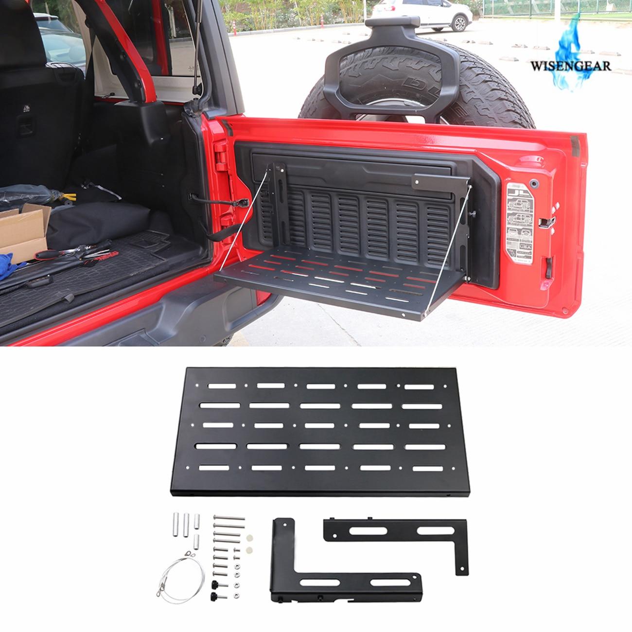 WISENGEAR Flexible hayon Table arrière coffre porte Rack Cargo porte-bagages étagère support de stockage pour Jeep Wrangler JL 2018 2019