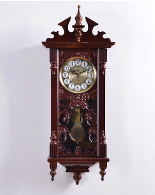 European carved wood crafts creative retro luxury quartz watch high grade green vintage brown living room bedroom wall clock