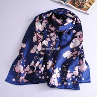 3 Colors Soft Silk Fashion Print Spring Autumn Long Scarf Light Scarf Wrap Pashmina Birthday Gift for Mother or Girl Friend