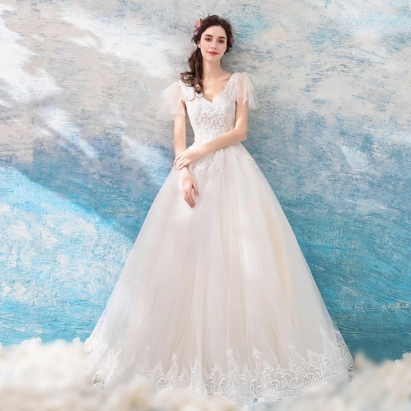 Kseniya Queen V neck Lace Ball Gown Princess Style Wedding Dress bridal dress