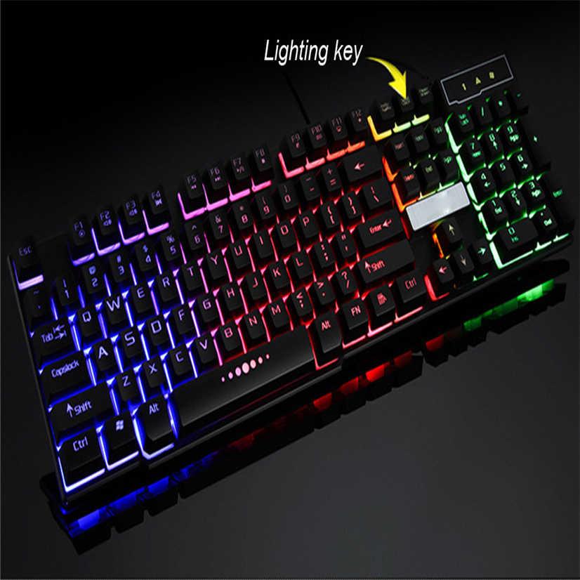 R260 Profession Gaming Keyboard 104 Keys Mechanical Fell Keyboard Wired USB  Keyboards RGB LED Backlit for Overwatch LOL