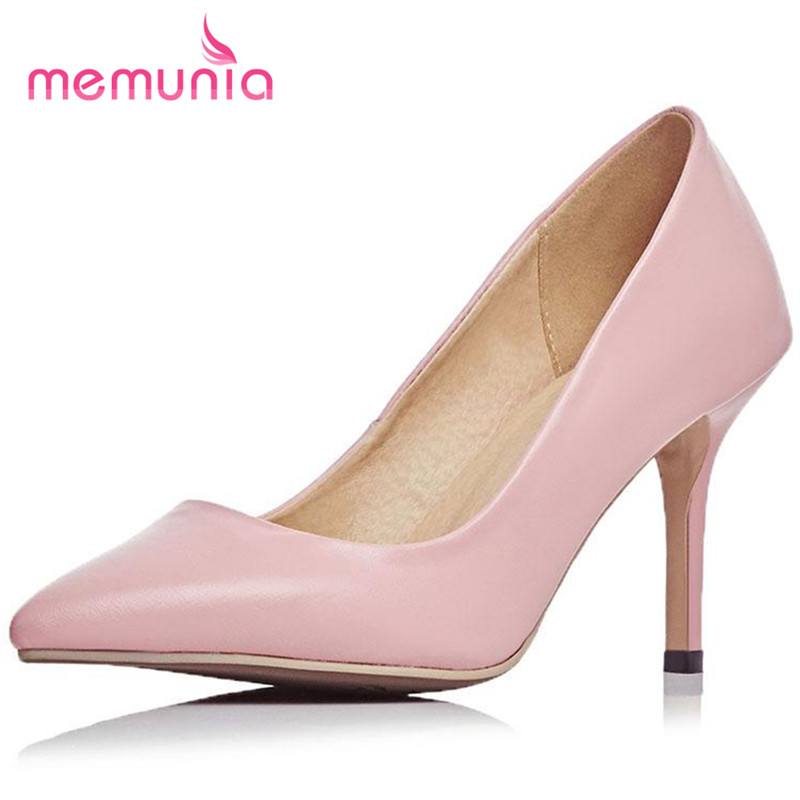 MEMUNIA Pointed toe thin high heels shoes genuine leather big size 33 44 shoes women pumps