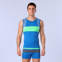 Mens Compression Vest Crossfit Comfortable Tank Top Slimming Fit Breathable Quick Dry Elastic Male Tops Blue