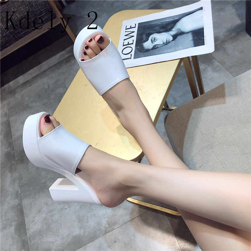 2019 Zomer Rome Sandalen Vrouwen Leisure slippers Mode vrouwen Sandalen Slides schoenen Vierkante hak Vrouwen Hoge Hakken sandaal