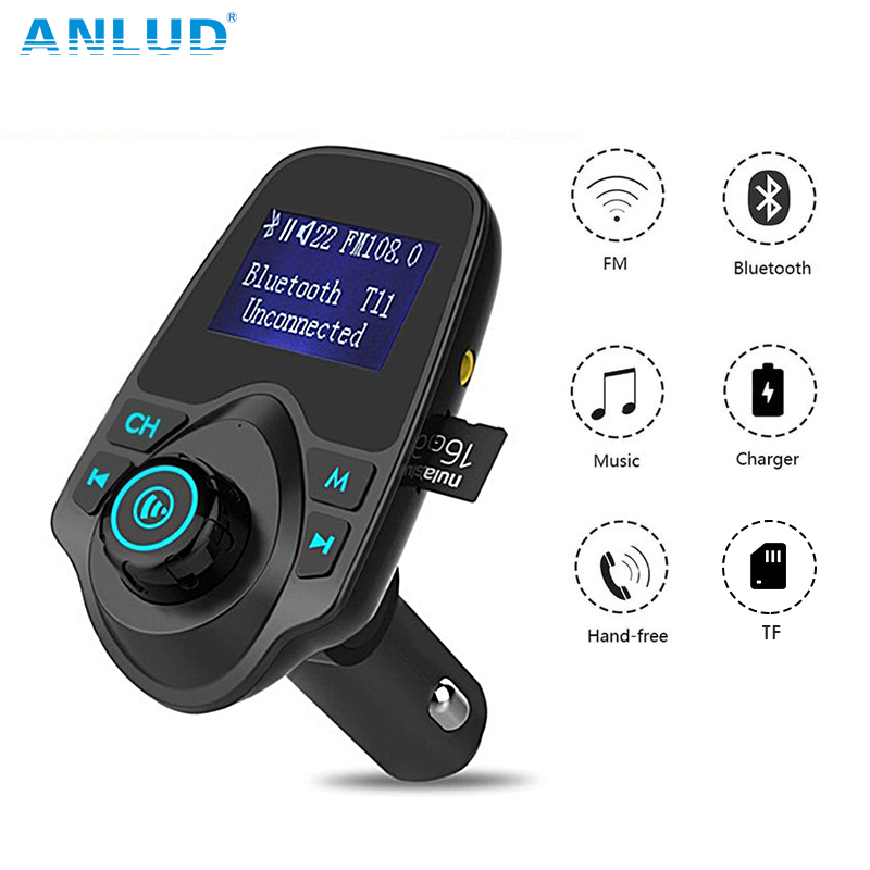 ANLUD Bluetooth Car Kit Handfree FM Transmitter Car Bluetooth FM Transmitter T11 Dual USB Charger A2DP Wireless Car MP3 Player