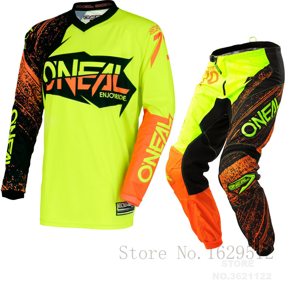 2018 ONeal Motocross Protective Gear Element Burnout Jersey, Pant Combo MX MTB Mountain Downhill Dirt Motorcycle Bike Suit