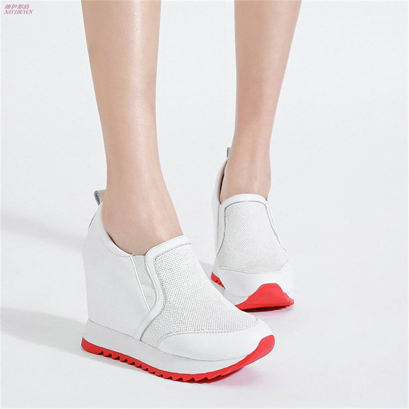 NAYIDUYUN Fashion Women Cow Leather Fashion High Heels Wedge Sneakers Shoes Platform Party Pumps Low Top Casual Punk Greepers nayiduyun women casual shoes low top platform wedge high heels boots round toe slip on pumps punk chic shoes black white sneaker