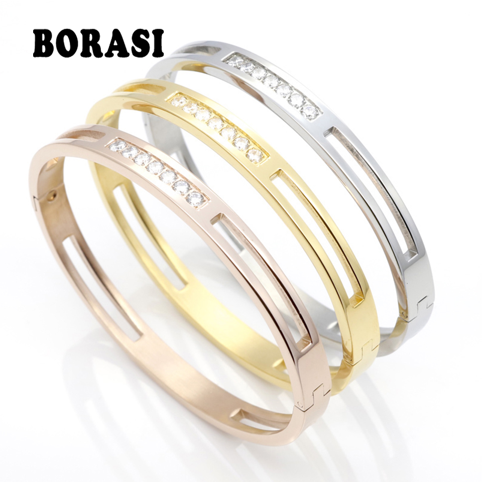 цена CZ Zircon 316L Titanium Stainless Steel Love Cuff Bangle Gold Color Crystal Brand Lover Charm Bracelets & Bangles For Women Men