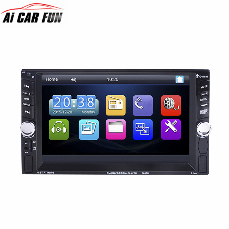 7652 Double Dins Car Auto Radio Player autoradio 6.6 HD Touch screen Bluetooth Rear View Camera Stereo FM/MP3/MP5/Audio/USB/AUX 7inch car radio player hd touch screen bluetooth dvd fm usb port tf card slot aux input rear view camera steering wheel control