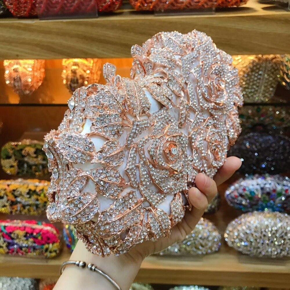 Rose Bourse Color De Boîte Sacs Same Métal color Dehors Sac Embrayage Épaule As Minaudière Soirée Diamant Pictur Mariage Pictur Femmes Creusent Dame Cristal Fleur Cadeau En HXwfHqdR