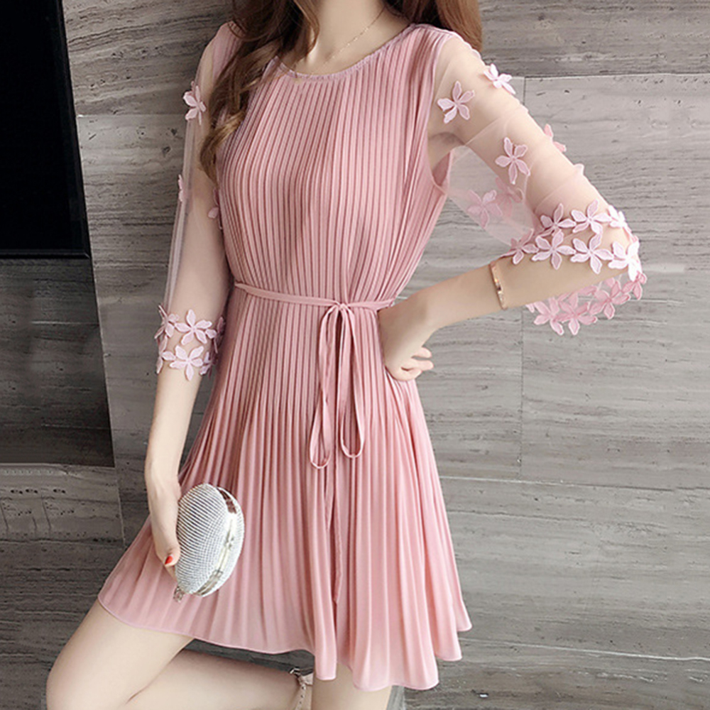 Fashion Sweet Style Female Dresses Summer Short Sleeve Slim Pink Dress 2019 New Women Korean Black Elegant Dress