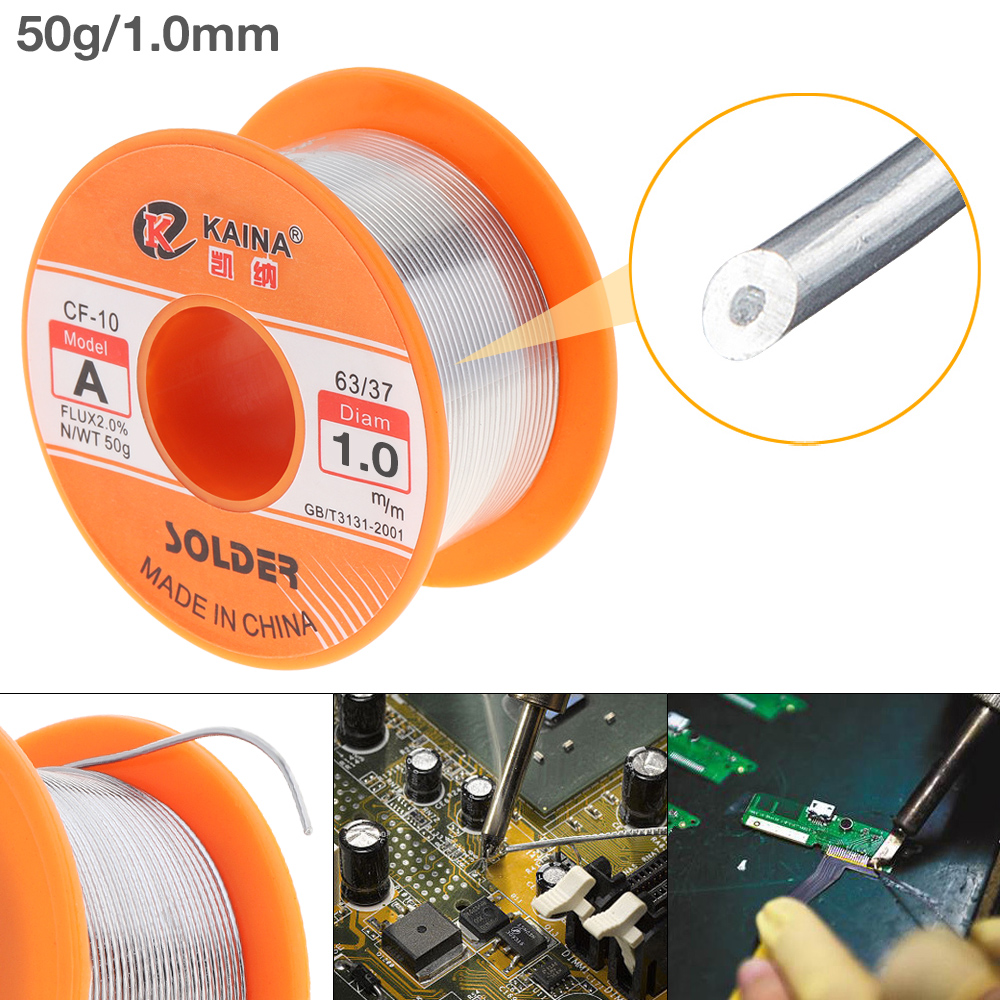 63/37 50g 0.5mm-2.0mm No-clean Rosin Core Solder Tin Wire Reel With 2% Flux And Low Melting Point For Electric Soldering Iron