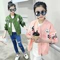 Meninas jaqueta de baseball jersey crianças casacos e jaquetas crianças outerwear menina da criança cardigan para 3 ~ 15 anos sping outono MC102